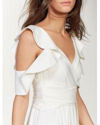 Halston Ruffle Sleeve Jersey Gown - White