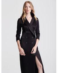 Halston Tuxedo Satin Gown - Black