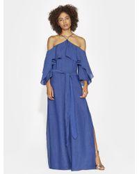 Halston - Textured Satin Cold Shoulder Gown - Lyst