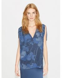 Halston - Printed Flowy Silk Top With Gathers - Lyst
