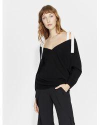 Halston - Cold Shoulder Cashmere Blend Sweater - Lyst