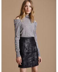 Halston Leather Strip Detail Skirt - Black