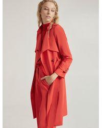 Halston Suiting Trench Coat - Red