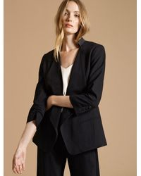 Halston Ruched Sleeve Slim Suiting Jacket - Black