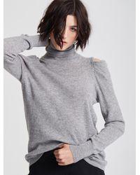 Halston Drape Cold Shoulder Long Sleeve Turtleneck Jumper - Gray
