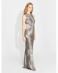 Halston - Bi-colored Sequins Cut Out Gown - Lyst