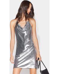 Halston Cowl Neck Velvet Slip Dress - Metallic