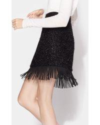 Halston Metallic Skirt With Faux Leather Fringe Hem - Black