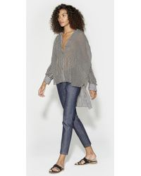 Halston - Ruched Button Up Blouse - Lyst