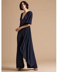 Halston - Asymmetric Drape Flowy Jumpsuit - Lyst