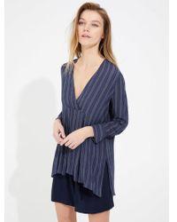 Halston Stripe Gauze Tunic - Blue
