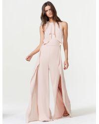 Halston Draped Jumpsuit With Leg Slits - Pink