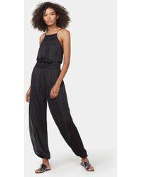 Halston Jumpsuit With Sheer Side Panels - Black
