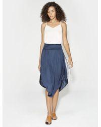 Halston Heritage | Ruched Waist Midi Skirt | Lyst