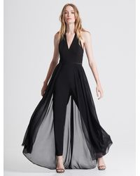 Halston Halter Neck Crepe Jumpsuit With Georgette Overlay - Black