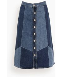 Nili Lotan Madeline Patchwork Skirt - Blue