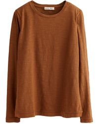 Alex Mill Slub Long Sleeve Solid Tee - Brown