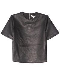 Tibi Vegan Leather Perfect T - Black