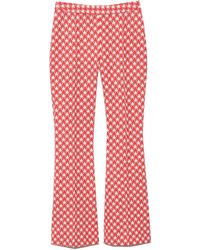 Rosetta Getty Pull On Houndstooth Cropped Flare Pant - Red