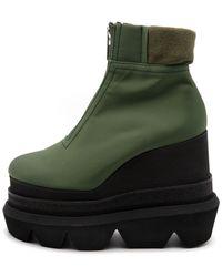 Sacai Nylon Twill Short Wedge Boots - Green
