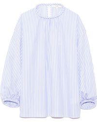 Tibi Awning Stripe Shirred Top - Blue
