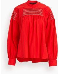 Sofie D'Hoore Bakupu Long Sleeve Smocked Top - Red