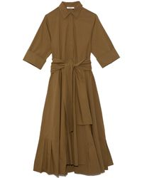 ODEEH Long Pleated Dress - Natural