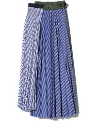 Sacai Pinstripe Pleated Midi Skirt - Blue