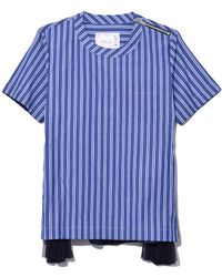 Sacai - Shirting Side Pleated Short Sleeve Top In Navy/blue Stripe - Lyst