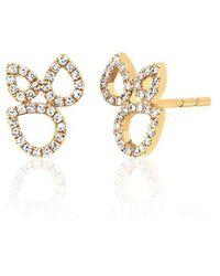 EF Collection Diamond Open Teardrop Cluster Stud Earring - Metallic