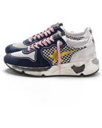 Golden Goose Deluxe Brand Running Sneakers In White Check/yellow Star - Multicolour