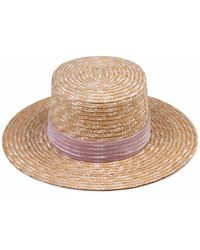 Lack of Color - Pink Velour Hat In Natural Straw - Lyst