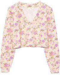 LoveShackFancy Tamika V-neck Pullover - Pink