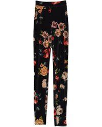 Attico - Printed Velvet Pant In Black Floral - Lyst