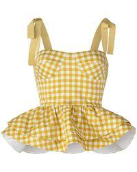 Silvia Tcherassi Junquillo Gingham Cotton-poplin Peplum Top - Yellow