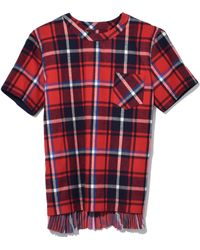 Sacai Flannel Plaid Shirt In Red/navy