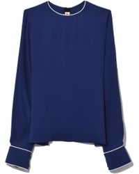 Marni - Long Sleeve Crew Neck Shirt In Blue China - Lyst