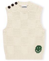 Ganni Cotton Rope Knit Vest - Natural