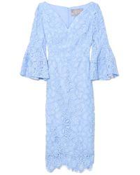 Lela Rose V-neck Flutter Sleeve Dress In Sky - Blue