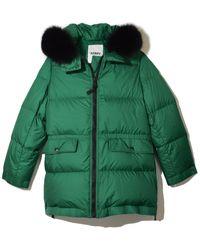Yves Salomon Light Fox Puffer Coat - Green
