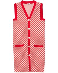 Rosetta Getty Vest Houndstooth Dress - Red