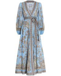 Zimmermann Fiesta Paisley-print Linen Wrap Dress - Blue