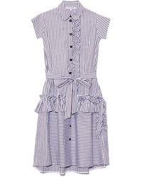 Dice Kayek Ruffle Shirt Dress - Blue