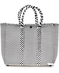 Truss Small Tote With Leather Pocket In Black/white