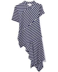 Monse - Twisted Stripe T-shirt In Navy/white - Lyst