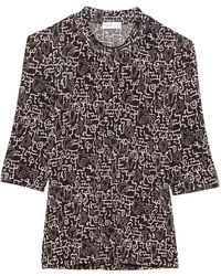 Rosetta Getty Cropped Sleeve Abstract T-shirt - Black