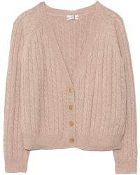 Co. Cropped Cable Knit Cardigan - Multicolour