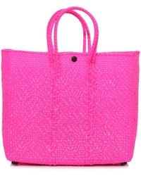 Truss Small Tote With Leather Pocket In Fuschia - Pink