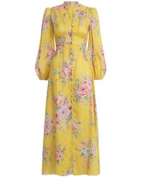 Zimmermann Zinnia Floral-print Linen Maxi Dress - Yellow