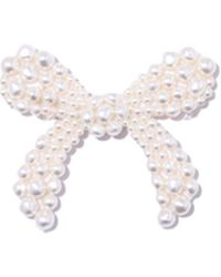 Simone Rocha Beaded Bow Brooch In Pearl - Multicolor